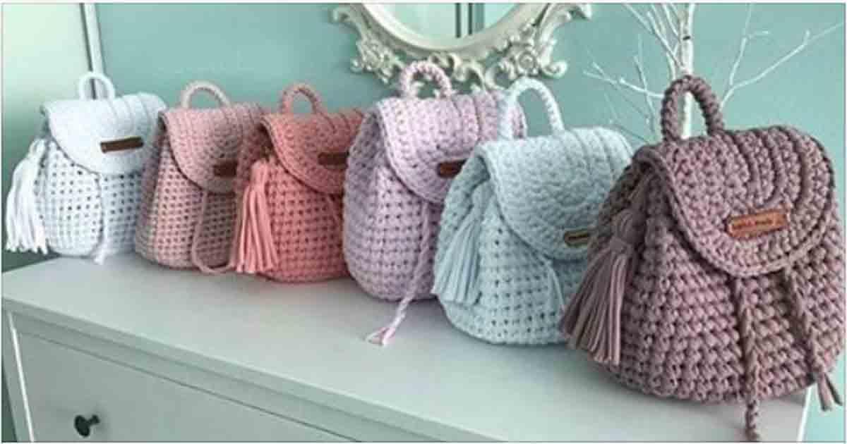 900efb2791e6 Вяжем очаровательные и удобные рюкзаки из трикотажной пряжи крючком ...