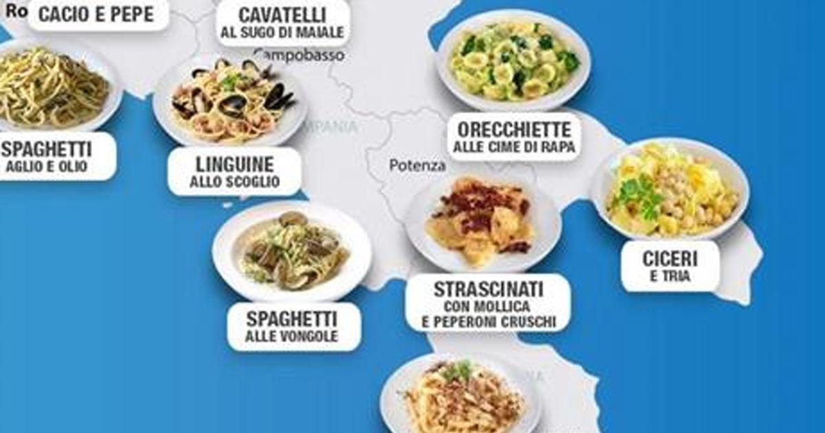 Опубликована карта итальянской пасты по регионам