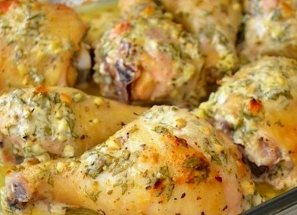 Куриные голени в сметанном маринаде