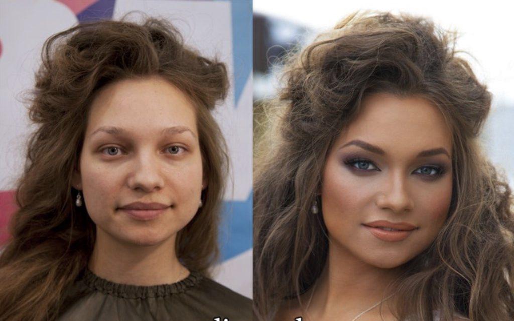 Фото девушек с макияжем и без.