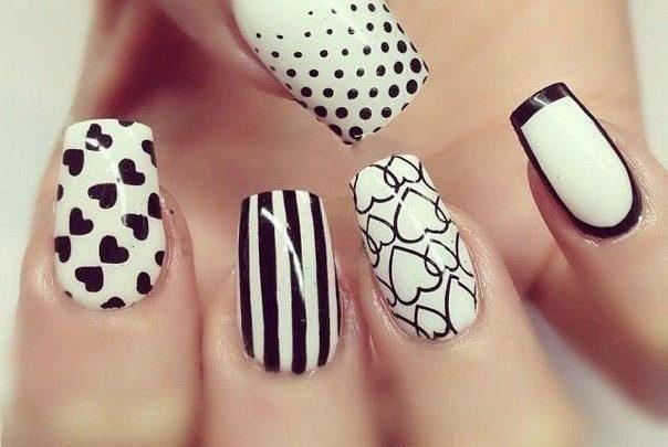 Черно-белый маникюр: 25 оригинальных идей дизайна ногтей